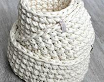 Three Crochet baskets