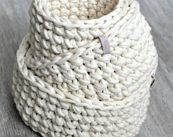 Three Crochet baskets