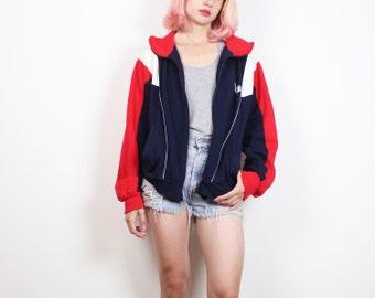 Vintage PONY Sweatshirt 1980s Zip Up Boyfriend Sweater Red Navy Blue White Color Block Sporty 80s Track Jacket Logo Jumper M Medium L Large