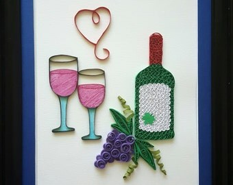 Paper quilled wine art | wine artwork | wine art decor | wine print | wine kitchen decor | wine gifts | wine home decor | wine lover gift