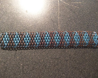 Sky blue and bronze dragonscale bracelet