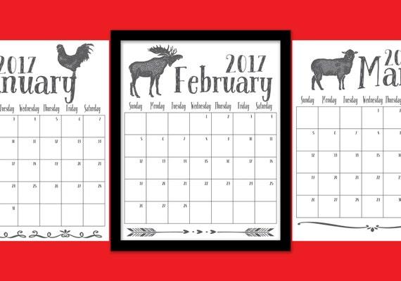 Calendar For Sale : Sale monthly calendar animal instant digital