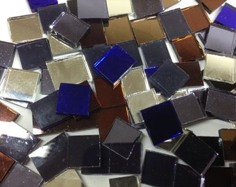 GLIMIR Brand Mirror Glass Tile for Mosaic or Craft Projects 100 count + extra