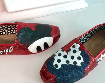 Red Glitter Mickey & Minnie Mouse TOMS Size7)