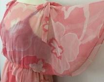 Vintage dress sheer floral cape sleeve dress pink bold floral floaty flared 1970s dress UK 16 plus size vintage wedding summer party flower