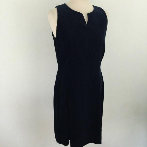 Vintage shift dress navy blue velvet dress Laura Ashley fitted UK 12 1990s tailored short dress 1960s Mod style