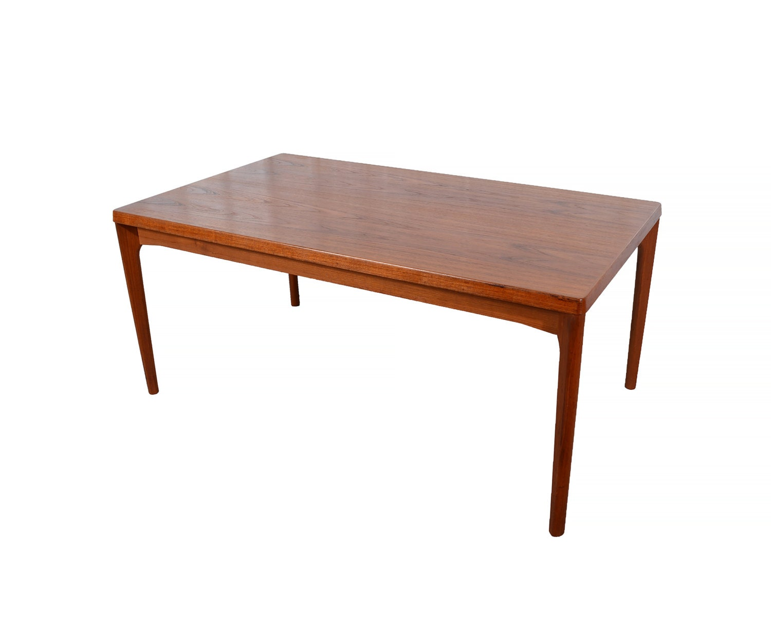 Large teak dining table with 2 leaves danish modern dutch for Big modern dining table