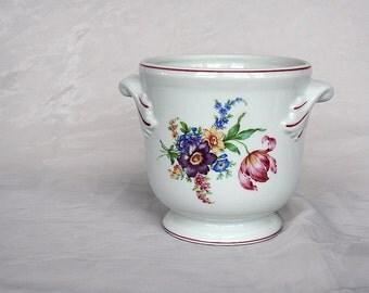 Vintage Flower Pot - CachePot - Porcelain Cache pot - Porcelain Planter - Decorative Indoor Planter - Floral Decor - Portuguese Ceramic Pot