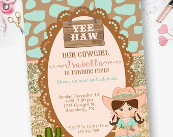PRINTABLE-  Cowgirl, Teal and gold glitter, Cow print, Peach and teal, Birthday Invitation- YOU PRINT