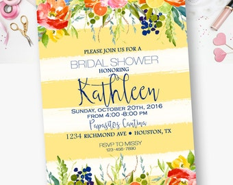 Bridal Shower, Boho, Chic, Floral, Watercolor, Cascading Flowers, Bridal Shower Invitations  - YOU PRINT