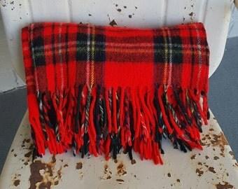 Vintage 1970s Red Tartan Plaid Stadium Picnic Camper Blanket Throw Troy Mills