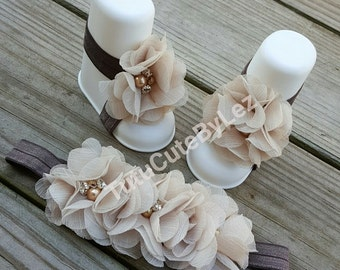 Tan and Brown Barefoot Sandals and Headband Set