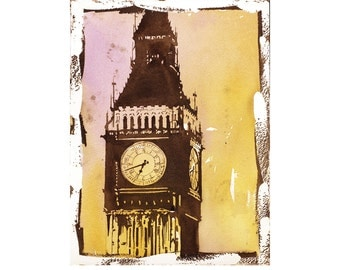 Painting of Big Ben & Houses of Parliament- London, United Kingdom.  Big Ben watercolor painting.  Landscape art print London artwork.