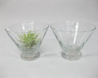 Mid Century Modern Glass Sugar and Creamer set, Sugar Bowl, Cream Pitcher