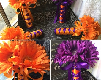Choose Plum or Orange Daisy Bouquet with Boutonniere, Orange Bridal Bouquet, Plum Wedding Bouquet Plum, Purple Orange Bouquet Plum
