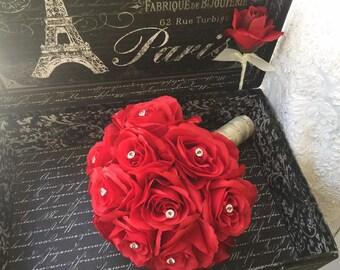 Wedding Bouquet Red Rose Wedding Bouquet, Red Rose Bridal Bouquet, Red Bridal Bouquet, Red Flower Bouquet, Red Bridesmaid, Red Bouquet