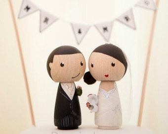 Wedding cake topper, bride and groom cake topper, peg doll bride & groom, Peg Doll, Wedding cake topper, Kokeshi wedding cake topper