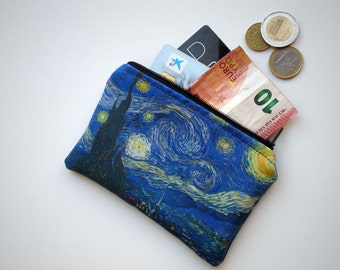 Coin purse, Small zipper pouch, Card wallet, Gift idea, Vincent Van Gogh art, Starry Night