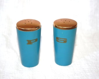 Vintage Set Mid Century Blue and Copper Salt and Pepper Shakers