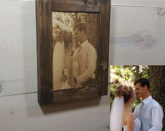 Your Photo Engraved on Wood and Custom Framed