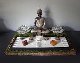 Meditating Buddha Statue // Buddhist Altar // Table Shrine // Zen Garden // Lotus Candle Holder // Incense Holder // Sacred Space / DIY Kit