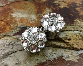 Clearance: Clear Flowery Rhinestone Plugs, gauges   5/8, 3/4