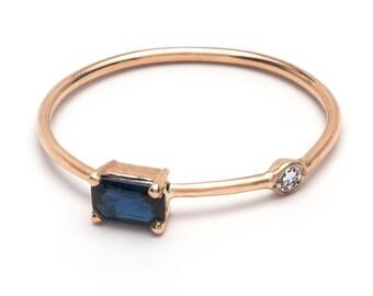 14k Sapphire and Diamond Dainty Ring