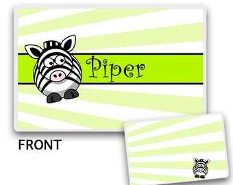 Kids PLACEMAT, Zebra Tableware, Customized Dinnerware, Personalized Placemat, Zebra Placemat, Baby Placemat, Childrens Placemat, Baby Set