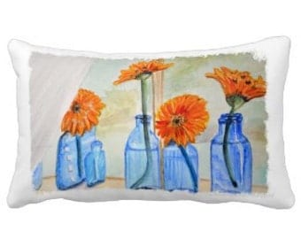 Spring to Summer Orange Zinnia Lumbar Pillow