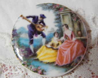 Young Ladies Being Serenaded - Ceramic Button