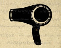 Digital Blow Dryer Graphic Image Blowdrier Download Hair Dresser Salon Barber Printable Antique Clip Art Jpg Png Eps 18x18 HQ 300dpi No.3299