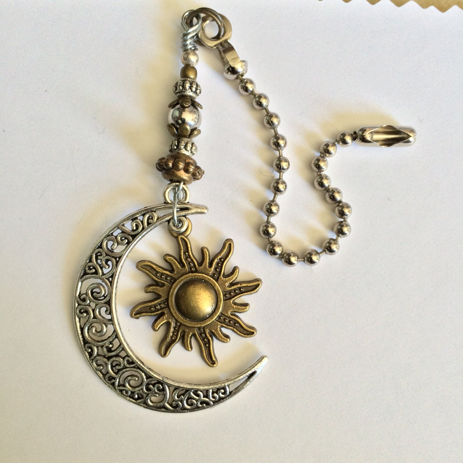 Celestial Light Pull Sun And Moon Ceiling Fan Pull Antique