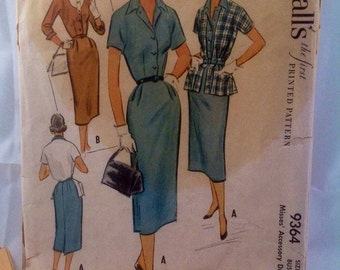 1953 McCall's the first Printed Pattern #9364 Size 16 Bust 34.Misses Accessory Dress
