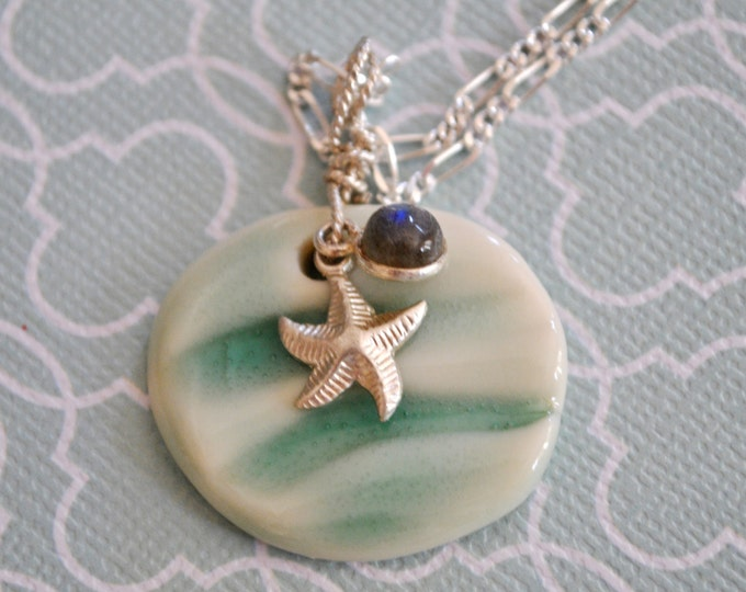 Handcrafted ceramic wave pendant, Labradrorite stone charm and silver starfish,  beach necklace, summer, ocean
