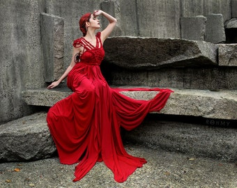 """Floor-length handmade Gown """"Coral"""" ///  ROHMY Gold Label /// Evening Gown /// Eden Collection"""