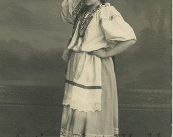 Pretty girl in Russian costume w kerchief antique photo