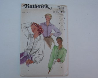 Butterick 5522 Vintage 1970s Blouse with Long Sleeves Uncut Pattern Size 14, 1970s Blouse Uncut Pattern Size 14 Butterick 5522