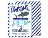 Shark Birthday Invitation - PRINTED Shark Fin Birthday Party Invite Sharks Party Ocean Water Invitation Blue Watercolor Shark Invite