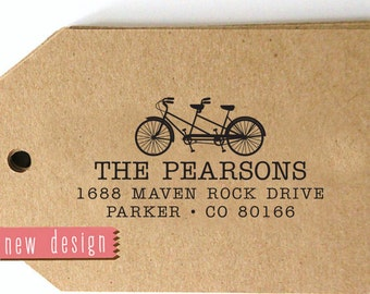 CUSTOM pre inked STAMP from USA, Custom Address Stamp, Monogram Address Stamp, custom Bike Lover stamp, Bicycle stamp with proof rb5-22