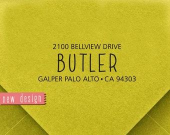 CUSTOM ADDRESS STAMP, personalized pre inked address stamp, pre inked custom address stamp, return address stamp and proof - b5-52