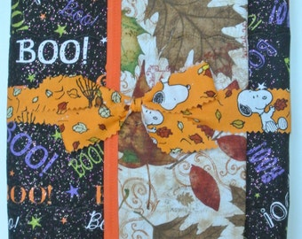 """Fall/Halloween Placemats - Colorful """"Boo"""" & Fall Leaves -  set of 4"""