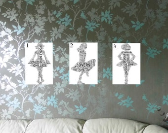 Irish Dancer Personalised Shaped Word Art Print. FREE UK P&P Birthday, Special Occasion, Dancers gift.