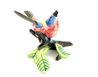 Stangl Bird Figurine , Stangl Pottery Birds, Large Bird, Yellow, Red, Blue, Black, Stangl Collectible Bird Figurine