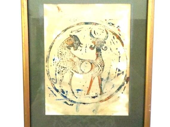 Vintage Asian Art, Framed Mythical Art Painting, Fantasy Animal, Horned Animal, Asian Decor, Framed Mythical Art