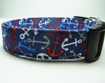 Nautical Anchors Blue, Gray, Orange, Red & White  Dog Collar