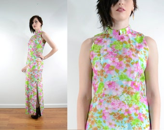 60s Asian Maxi Dress with Floral Print Side Slit Sleeveless Mandarin Collar 90s Prom Grunge Semi Formal // Small Medium