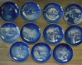 Jule After Blue Copenhagen Christmas Plates 1963 through 1977 11 Total FREE SHIPPING