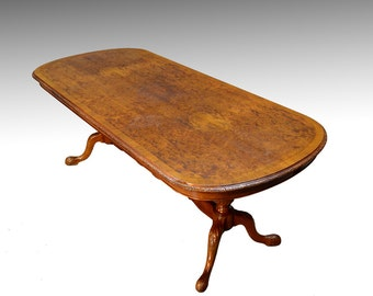 16939 *REDUCED PRICE* Burl Walnut Carved Hallway Table – Dining Table