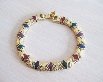 Joan Rivers Link Bracelet - Green and Red Enamel - 8 inches Gold Tone - S1786