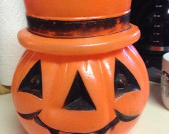 Rare Vintage Pumpkin Halloween Candy Bucket